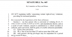 Senate Bill No. 465: Traffic Regulations