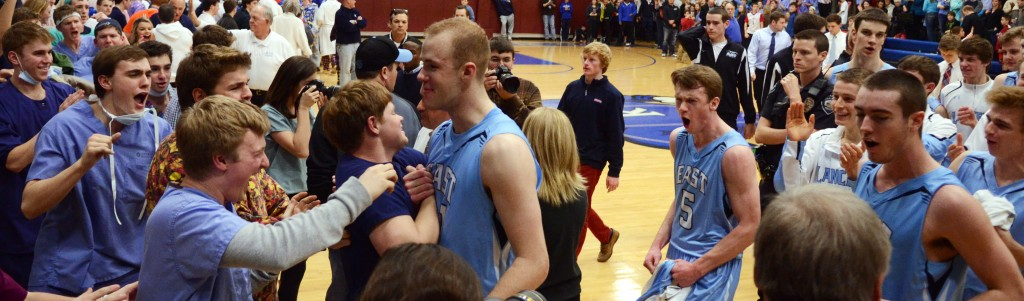 East fans greet players as they leave the court after beating Rockhurst Friday night