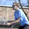 Junior Jack Fenton waits for the serve in his second game. Photo by Morgan Browning