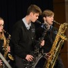 "Juniors Quinn Muther, who made alternate for districts, Molly Blake, and Matt Linboe perform ""Movin' Uptown"" during the Blue Knights ensemble. Photo by Kylie Rellihan"