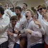 East students go crazy after junior Davis Morrison made the game-winning three pointer. Photo by James Wooldridge