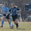 Sophomore Annie Lomshek rushes towards goal on a counter-attack. Photo by Joseph Cline