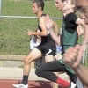 Freshman Cameron Patti leads his heat in the 200 meter dash. Photo by Morgan Browning