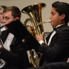 "Junior Gian Roque plays the baritone during ""Where Never Lark or Eagle Flew."" Photo by Kylie Rellihan"