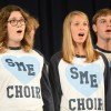 "Seniors Hannah Arnspiger and Maggie Shehan sing the Chambers choirs' ""Greatest Hits."" Photo by Kylie Rellihan"