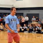 Senior Luke Ehly pumps the crowd with a chant. Photo by Maddie Smiley