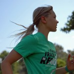 Sophomore Ingrid Worth concentrates on her running form. Photo by Tess Iler