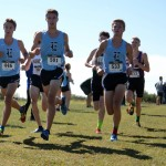 Senior Lance Meng and Juniors John Arnspiger and Jack Young lead a group of Varsity boys. In the Varsity race, Lance placed 5th, Jack placed 7th and John placed 9th. Photo by Morgan Browning