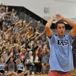 Senior Luke Ehly leads the student body in the roller coaster chant. Photo by Ellie Thoma