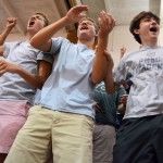 """Juniors Mick Wiggins, Hayden Linscott and Ethan Asher cheer when it's time for the Junior class to """"be the loudest"""". Photo by Morgan Browning"""