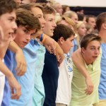 Junior boys sing the school song at the end of the pep assembly. Photo by Morgan Browning