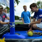 Sophomore class president Matthew Trecek helps build the sophomore float with the help of other sophomore student council reps. Photo by Diana Percy