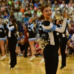 Sophomore Savannah Worthington cheers with the Varsity Lancer Dancers at the beginning of the pep assembly. Photo by Diana Percy