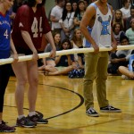 Seniors in Coalition play a game of life-size foosball against STUCO. Photo by Diana Percy