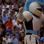 Lancer mascot pumping up the crowd before the assembly starts. Photo by Ava Simonsen