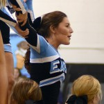 Senior Halle Connelly is held up as she does the splits during the cheerleaders' performance. Photo by Kaitlyn Stratman