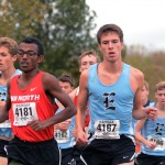 Senior Lance Meng keeps pace with SM North junior Alex Akalu. Akalu  finished the race in 16:13:00. Photo by Joseph Cline