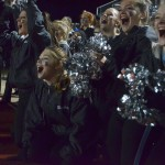 Lancer Dancers cheer on the drum line during their performance. Photo by Abby Blake