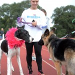 Sophomore Riley McCullough and her dog Ruby greet another dog at the Dog Dash. Photo by Morgan Browning