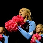 Senior Audrey Dickens cheers on the football players. Photo by Diana Percy