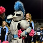 The Lancer mascot dances with the cheerleaders. Photo by Diana Percy