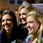 The 2015 homecoming court of Brooke Erickson, Chloe Kerwin, and Chloe Stanford smile for a picture after being crowned. Photo by Diana Percy