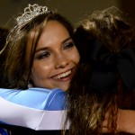 Senior Brooke Erickson hugs her friend after she was announced first attendant. Photo by Diana Percy