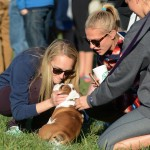 Seniors Elisabeth Shook and Audrey Dickens take a break from watching the game to pet junior Annie Smith's puppy. Photo by Morgan Browning