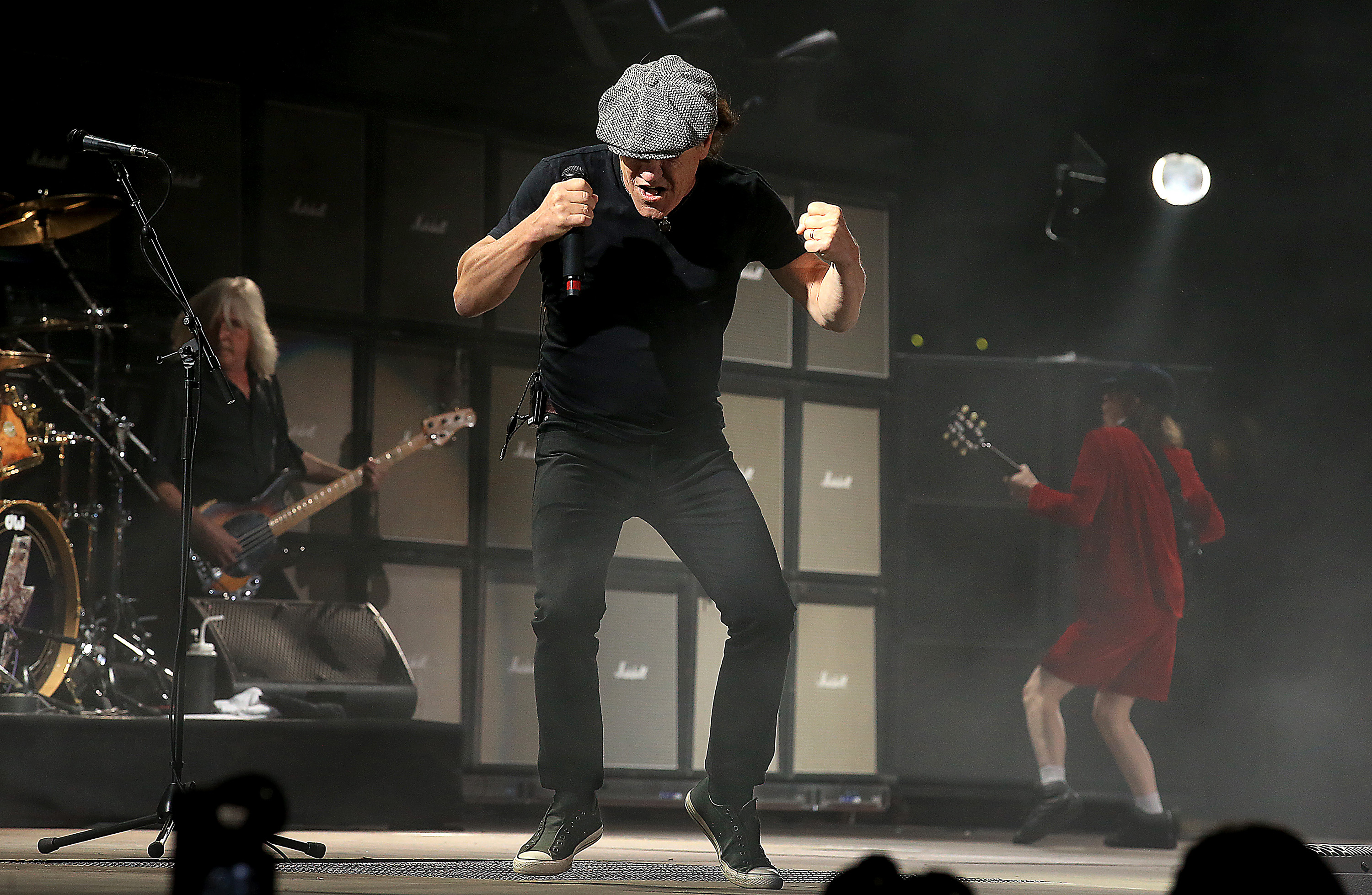 Brian Johnson, lead singer of the heavy metal band AC/DC, performs on Day 1 of the Coachella Valley Music and Arts Festival at the Empire Polo Grounds in Indio, Calif., on Friday, April 10, 2015. (Luis Sinco/Los Angeles Times/TNS)