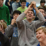 Junior Zeb Vermillion cheers for the junior class with friends. Photo by Haley Bell