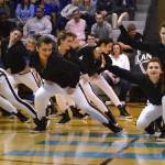 The JV Lancer Dancers perform their hip-hop dance during half-time of the JV basketball game. Photo by Diana Percy