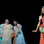 Sophomore Savanna Worthington, Cinderella, and stepsisters Junior Haley Lynch and Sophomore Grace Chisholm open act two. Photo by Maddie Smiley