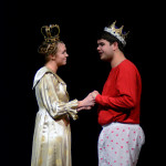 Senior Hannah Eldred as  Queen and Tyler Armer as King discuss the upcoming ball during the first act. Photo by Kaitlyn Stratman