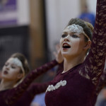 Senior Lauren Blackburn dances with the Varsity Lancer Dancers during half-time of the game. Photo by Abby Blake