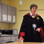 Sewing teacher, Janel Cates, teaches her class while dressed up for Monday's Harry Potter theme. Photo by Ava Simonsen