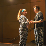 Senior Addie Griffith and Junior Jacob De Sett laugh in their pajamas on Tuesday. Photo by Audrey Kesler