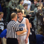 Junior Liam George talks to the referee about a missed call.  Photo by Tess Iler