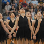 The Varsity Lancer Dancers end their performance with a pose. Photo by Audrey Kesler