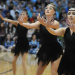 Senior Bea Workman dances during the Varsity Lancer Dancer routine. Photo by Haley Bell