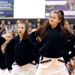 Freshman and JV Lancer Dancer, Megan Walstrom leads the dance team in their hip-hop dance. Photo by Maddie Smiley