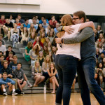 "Junior Haley Lynch hugs choir director, Mr.Foley, after she sings in ""The Voice"" competition. Photo by Maddie Smiley"