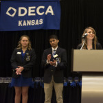 Junior Sarah Bluementhall delivered her speech for a general DECA position. Photo by Claire Pottenger
