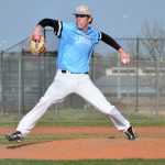 Senior Joey Went throws a pitch during the third inning of the game. Photo by Abby Blake