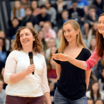 English teacher Amy Andersen hands the microphone back to Senior Anna Witwer after receiving the teacher of the year award.  Photo by Tess Iler