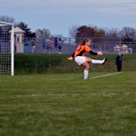 Senior Emily Chisholm takes a goal kick. Photo by Kaleigh Koc