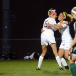 After Senior Elizabeth Shook's goal, Senior Georgia Weigel hugs her in celebration. Photo by Morgan Browning