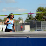 Freshman Lauren Winston approaches the high jump bar.  Photo by Tess Iler