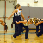 The Varsity Lancer Dancers get ready to perform their dance that they learned at NDA dance camp. Photo by Caroline Mills