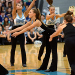 Senior Gretchen Crum strikes a pose as the Varsity Lancer Dancers begin their routine. Photo by Audrey Kesler