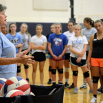 Head Coach Patty explains to the players how the tryouts will be organized. Photo by Diana Percy